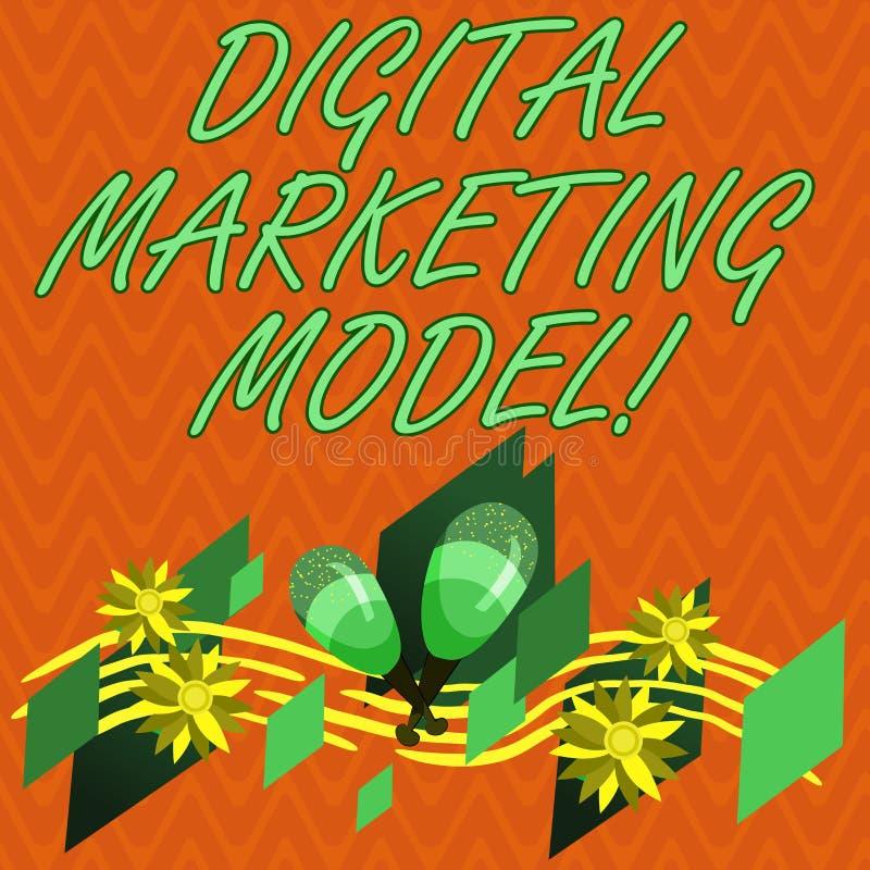 Pisać nutowym pokazuje Cyfrowego marketingu modelu Biznesowa fotografia pokazuje firmy s jest planem dla jak ono wytwarza ilustracja wektor