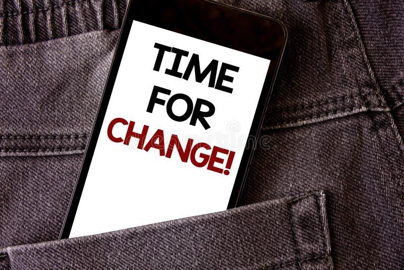 Pisać nutowym pokazuje czasie Dla zmiany Motywacyjnego wezwania Biznesowa fotografia pokazuje przemianę R Ulepsza transformatę Ro zdjęcie royalty free