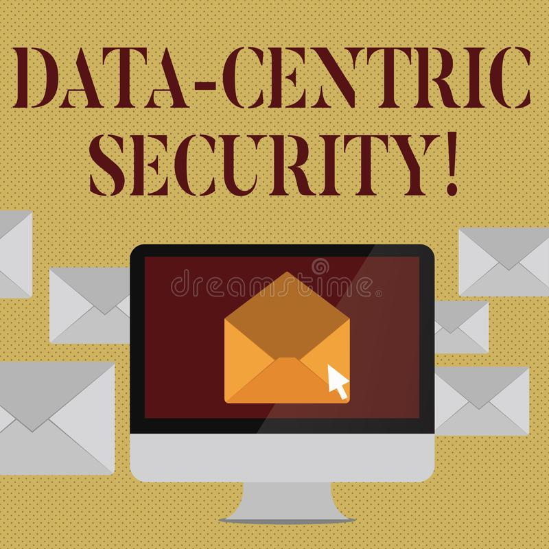 Pisać nutowym pokazuje dane Centrycznej ochronie Biznesowy fotografii pokazywać Utożsamia dane i ochrania gdziekolwiek ono prz ilustracji