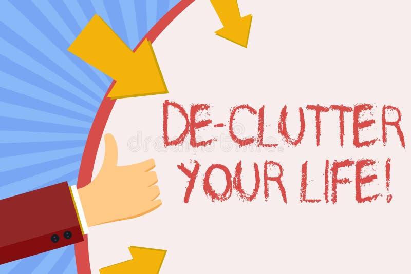 Pisać nutowym pokazuje De Zagracenie Twój życiu Biznesowy fotografii pokazywać usuwa niepotrzebne rzeczy nieporządne lub zatłoczo royalty ilustracja