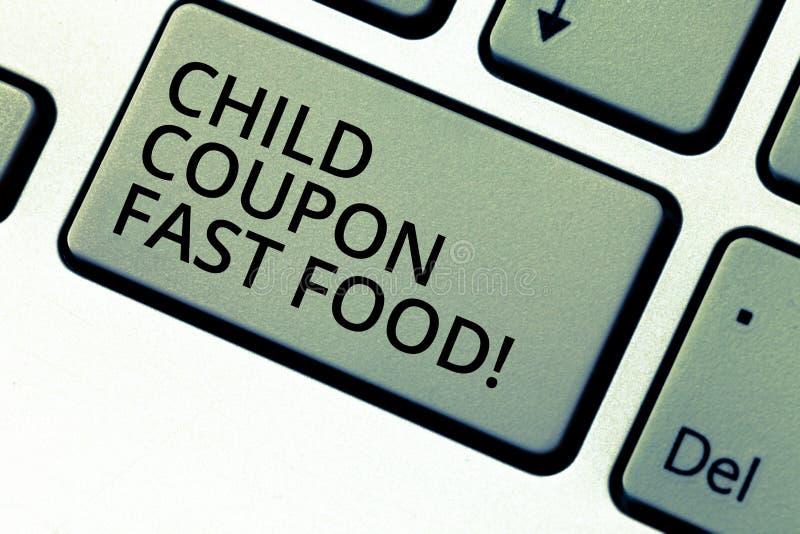 Pisać nutowym pokazuje dziecko talonu fascie food Biznesowa fotografia pokazuje biletów oszczędzań dżonki dyskontowych posiłki dl zdjęcie stock