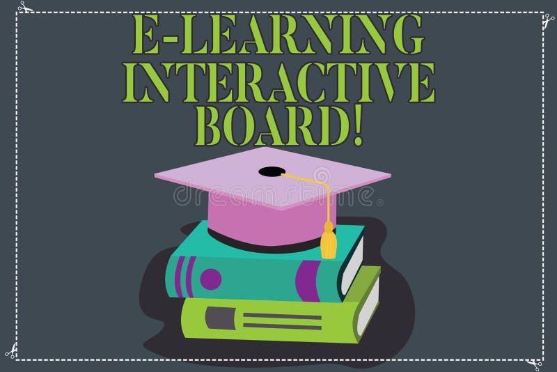 Pisać nutowym pokazuje E Uczy się Interaktywną deskę Biznesowa fotografia pokazuje integrującego set interaktywny online royalty ilustracja