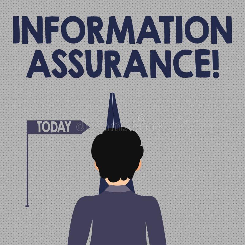 Pisać nutowym pokazuje Ewidencyjnym zapewnieniu Biznesowa fotografia pokazuje proces chronienie informacja od być ilustracja wektor