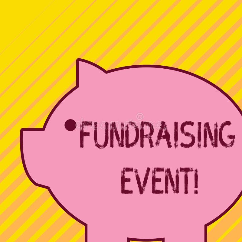 Pisać nutowym pokazuje Gromadzi fundusze wydarzeniu Biznesowa fotografia pokazuje kampanię jest podnosić pieniądze dla przyczyny  ilustracji