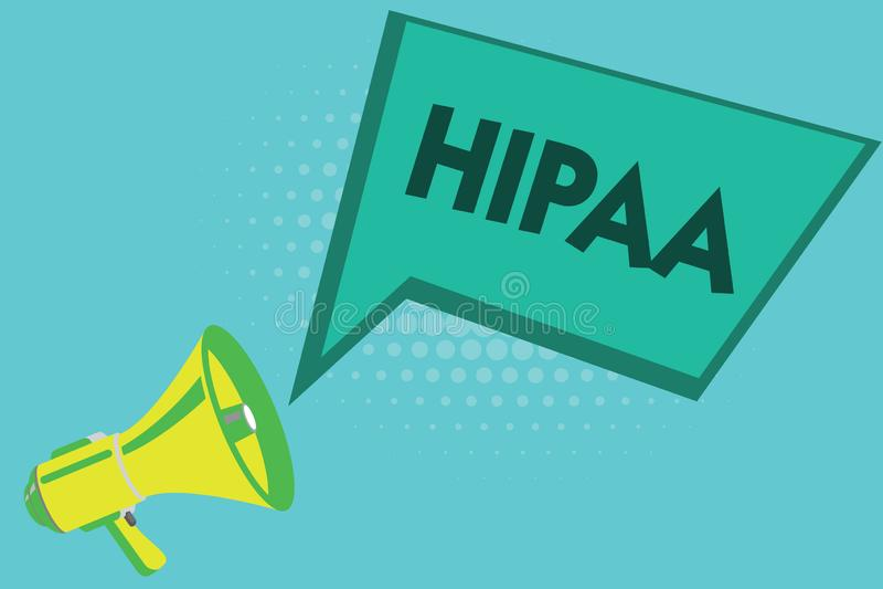 Pisać nutowym pokazuje Hipaa Biznesowa fotografia pokazuje akronimów stojaki dla ubezpieczenie zdrowotne przenośności odpowiedzia ilustracja wektor