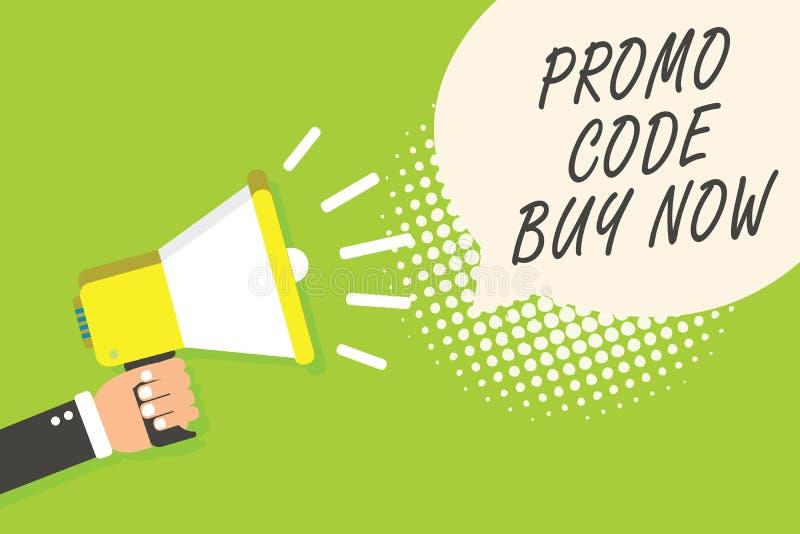 Pisać nutowym pokazuje Promo kodu zakupie Teraz Biznesowa fotografia pokazuje Dawać wielkiemu rabatowi formułuje Głośnikowego ann ilustracja wektor