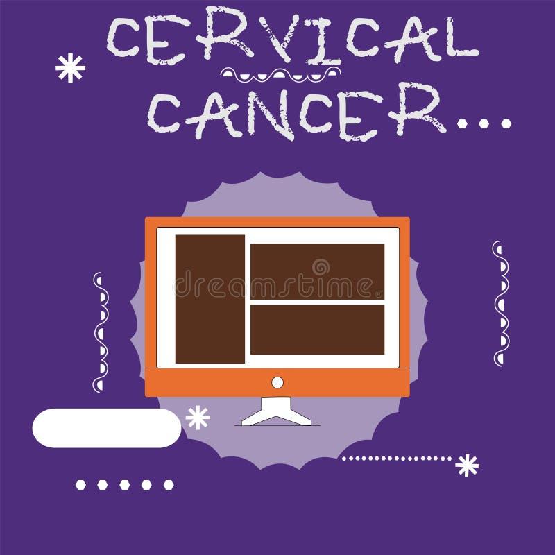 Pisać nutowym pokazuje raku szyjkim macicym Biznesowy fotografii pokazywać zdarza się gdy komórki cervix r abnormally royalty ilustracja