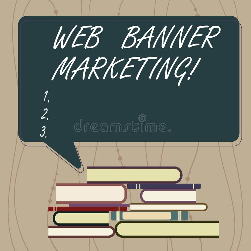 Pisać nutowym pokazuje sieć sztandaru marketingu Biznesowy fotografii pokazywać powoduje osadzać reklamę w stronie internetowej ilustracja wektor