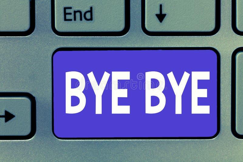 Pisać nutowym pokazuje walkowerze - walkower Biznesowa fotografia pokazuje powitanie dla opuszczać pożegnanie Widzii ciebie wkrót fotografia stock