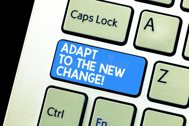 Pisać nutowym seansie Adaptuje Nowa zmiana Biznesowa fotografia pokazuje Dostawać używał zmiany różne strategie obraz stock