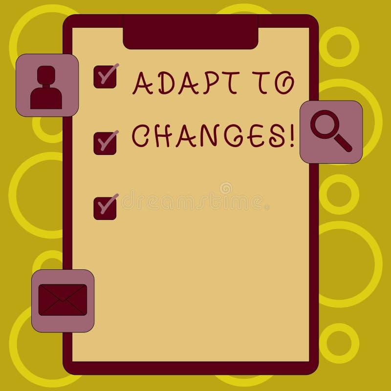 Pisać nutowym seansie Adaptuje zmiany Biznesowa fotografia pokazuje Nowatorską zmiany adaptację z technologicznym royalty ilustracja