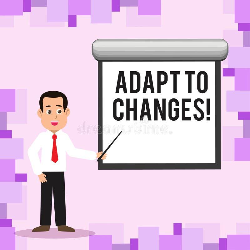 Pisać nutowym seansie Adaptuje zmiany Biznesowa fotografia pokazuje Nowatorską zmiany adaptację z technologicznym ilustracja wektor