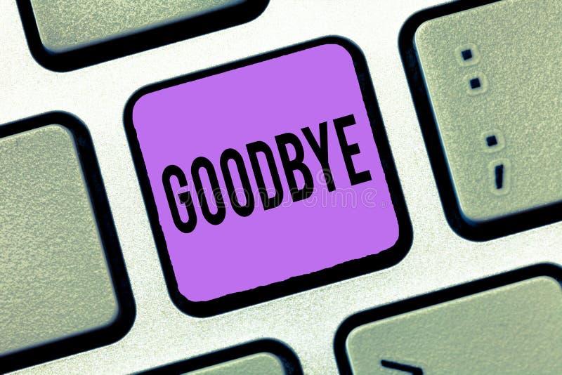 Pisać nutowym seansie Do widzenia Biznesowa fotografia pokazuje powitanie dla opuszczać pożegnanie Widzii ciebie wkrótce Separacy zdjęcia stock