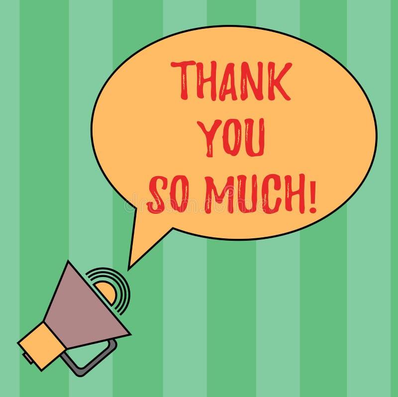 Pisać nutowym seansie Dziękuje Ciebie Tak Dużo Biznesowa fotografia pokazuje wyrażenie wdzięczność powitania docenienie owal royalty ilustracja