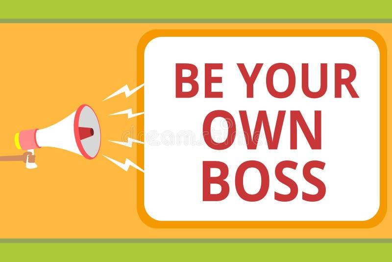 Pisać nutowym seansie Jest Twój Swój szefem Biznesowa fotografia pokazuje przedsiębiorczość początku biznesową niezależność Samoz ilustracji
