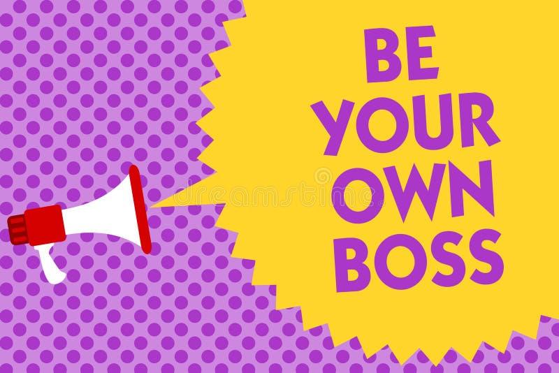 Pisać nutowym seansie Jest Twój Swój szefem Biznesowa fotografia pokazuje przedsiębiorczość początku biznesową niezależność Samoz ilustracja wektor