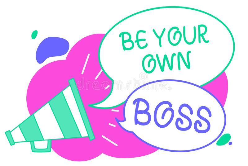 Pisać nutowym seansie Jest Twój Swój szefem Biznesowa fotografia pokazuje przedsiębiorczość początku biznesową niezależność Samoz royalty ilustracja