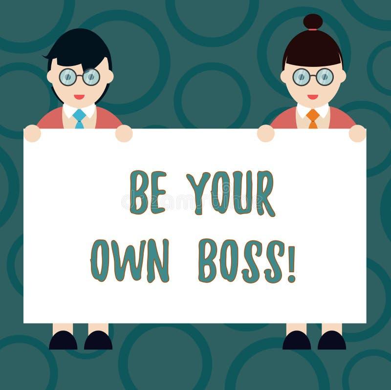 Pisać nutowym seansie Jest Twój Swój szefem Biznesowa fotografia pokazuje przedsiębiorczość początku biznesu niezależność royalty ilustracja