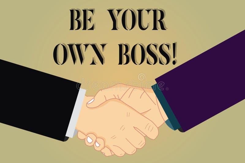 Pisać nutowym seansie Jest Twój Swój szefem Biznesowa fotografia pokazuje przedsiębiorczość początku biznesu niezależność ilustracja wektor
