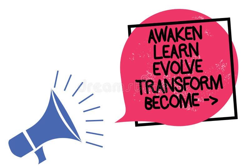 Pisać nutowym seansie Obudzi Uczy się Rozwija transformatę Zostać Biznesowa fotografia pokazuje inspiraci motywację Ulepsza megaf ilustracji