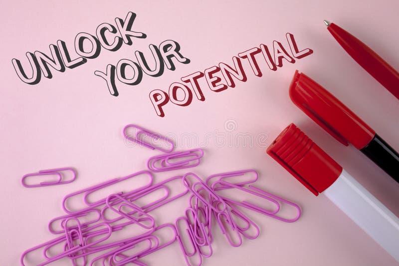 Pisać nutowym seansie Otwiera Twój potencjał Biznesowy fotografii pokazywać Wyjawia talent Rozwija zdolności przedstawienia umiej obrazy royalty free