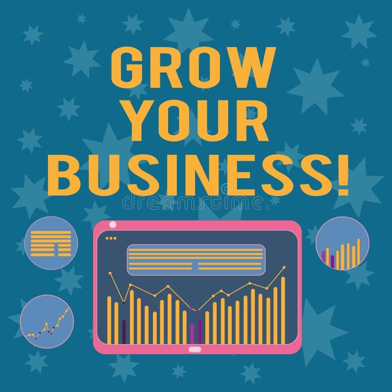 Pisać nutowym seansie R Twój biznes Biznesowa fotografia pokazuje ulepszający niektóre miarę przedsięwzięcie firmy ilustracja wektor
