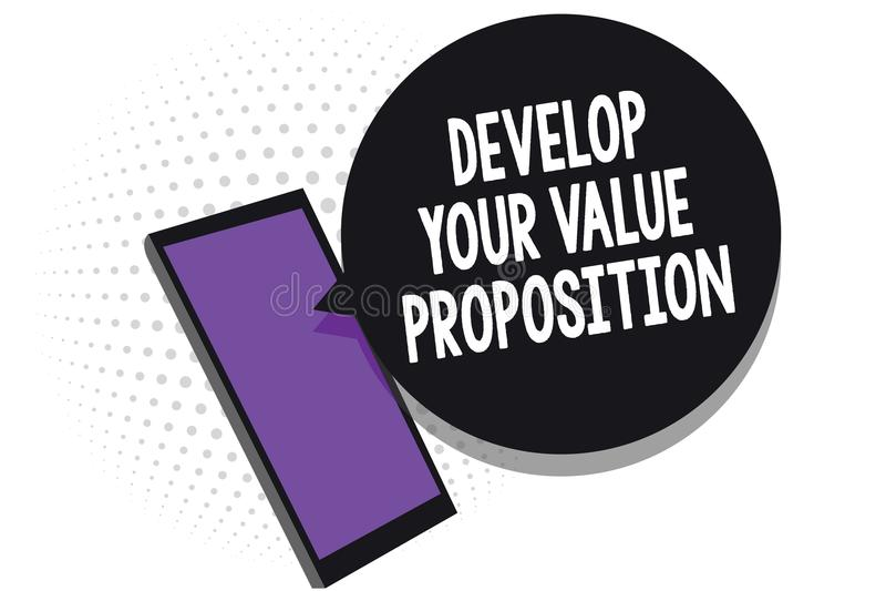 Pisać nutowym seansie Rozwija Twój wartości propozycję Biznesowy fotografii pokazywać Przygotowywa strategii marketingowej namawi ilustracja wektor