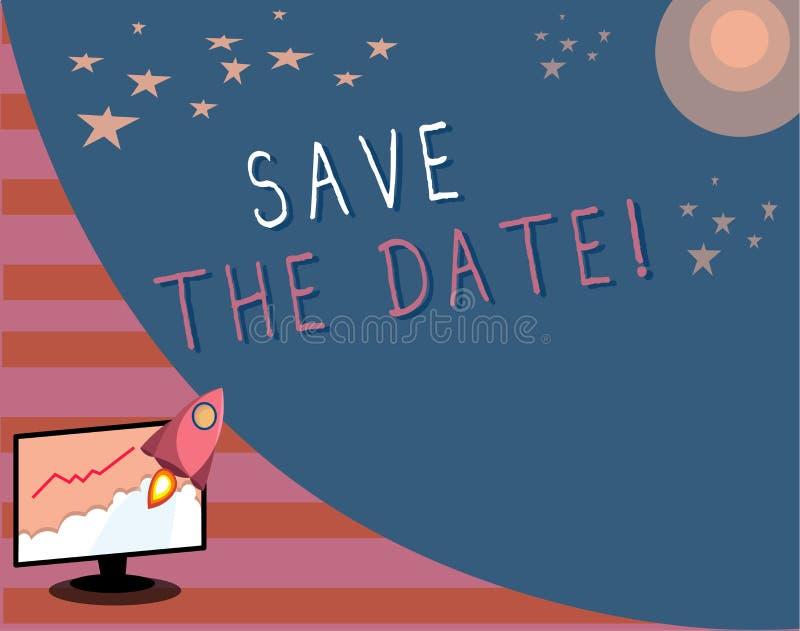 Pisać nutowym seansie Save datę Biznesowa fotografia pokazuje Pamiętający rozkład Mark kalendarzowy zaproszenie ilustracji