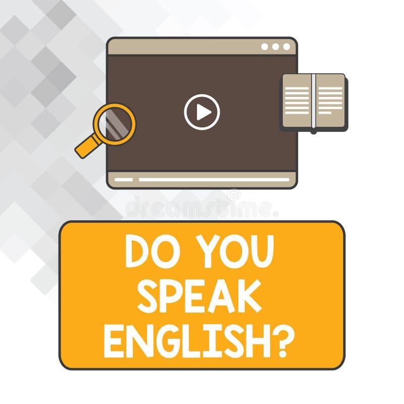 Pisać nutowym seansie Ty Mówisz Englishquestion Biznesowa fotografia pokazuje Obcojęzycznego uczenie języków pastylki różnego wid zdjęcia stock