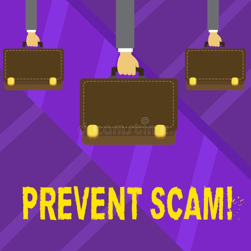 Pisać nutowym seansie Zapobiega Scam Biznesowa fotografia pokazuje ochrona konsumentów oszukańcze transakcje Wręcza przewożenie ilustracja wektor