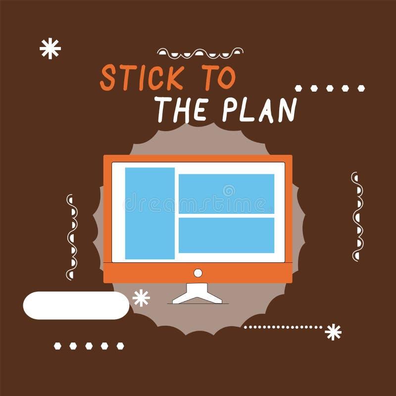Pisać nutowym seansu kiju plan Biznesowa fotografia pokazuje przylegać niektóre plan i no zbaczać od go Podąża ilustracja wektor