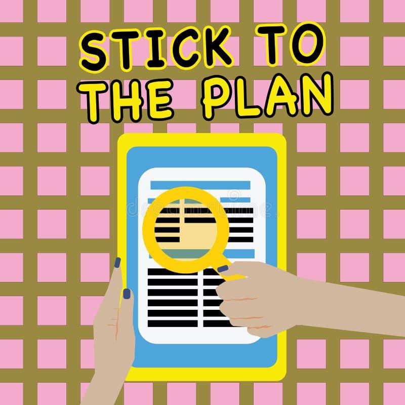 Pisać nutowym seansu kiju plan Biznesowa fotografia pokazuje przylegać niektóre plan i no zbaczać od go Podąża ilustracji