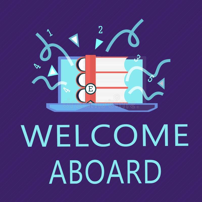 Pisać nutowym seansu powitaniu Aboard Biznesowa fotografia pokazuje wyrażenie powitania osoba czyj przyjeżdżał pragnie royalty ilustracja