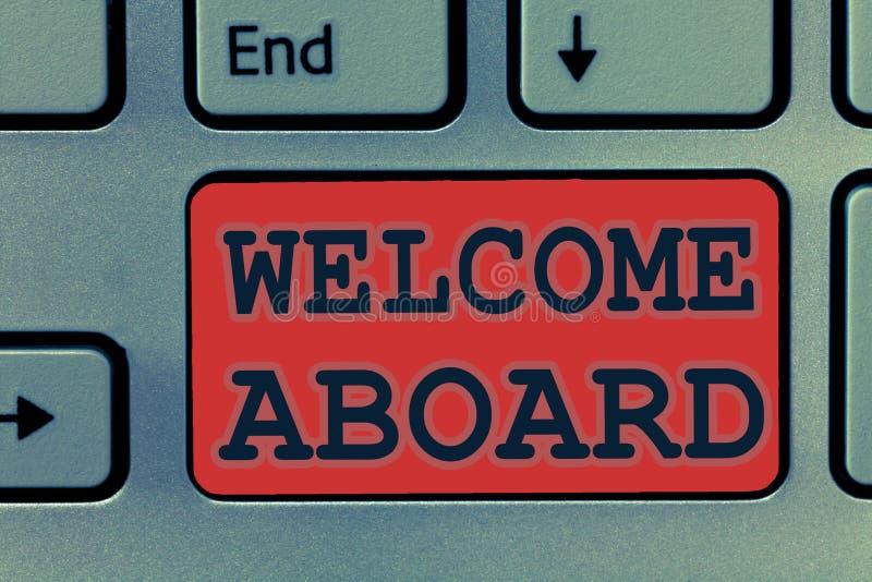 Pisać nutowym seansu powitaniu Aboard Biznesowa fotografia pokazuje wyrażenie powitania osoba czyj przyjeżdżał pragnie ilustracji