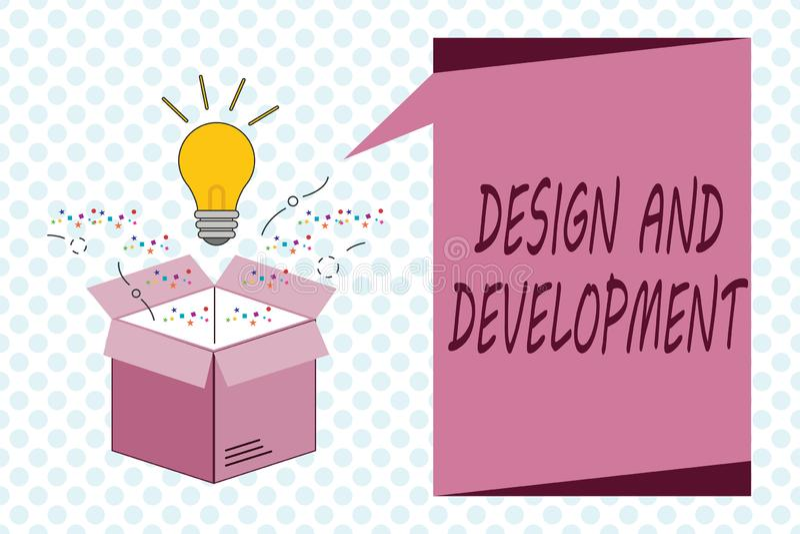 Pisać nutowym seansu projekcie, rozwoju I Biznesowa fotografia pokazuje Definiujący specyfikację produkty i usługa ilustracja wektor