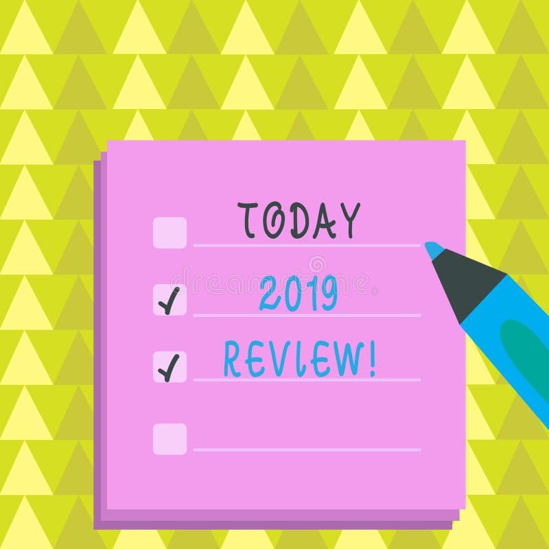 Pisać nutowym seansu 2019 przeglądzie Biznesowa fotografia pokazuje pamiętać za rok wydarzeń głównymi akcjami lub dobrymi przedst ilustracji