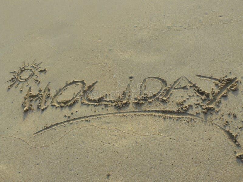 pisać piaska wakacyjny słowo zdjęcie royalty free