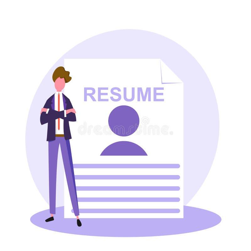 Pisać poprawnym życiorysie, osoba szuka nową pracę, przedstawia twój umiejętności nowa pracodawca, wektorowy wizerunek, no ilustracja wektor