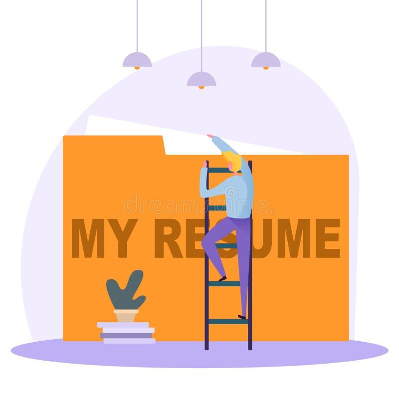 Pisać poprawnym życiorysie, osoba szuka nową pracę, przedstawia twój umiejętności nowa pracodawca, ilustracja wektor