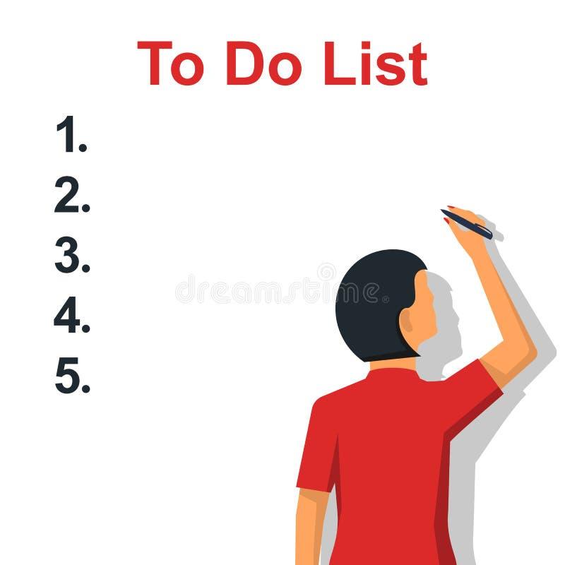 Pisać Robić liście Sprawdza plan ilustracja wektor