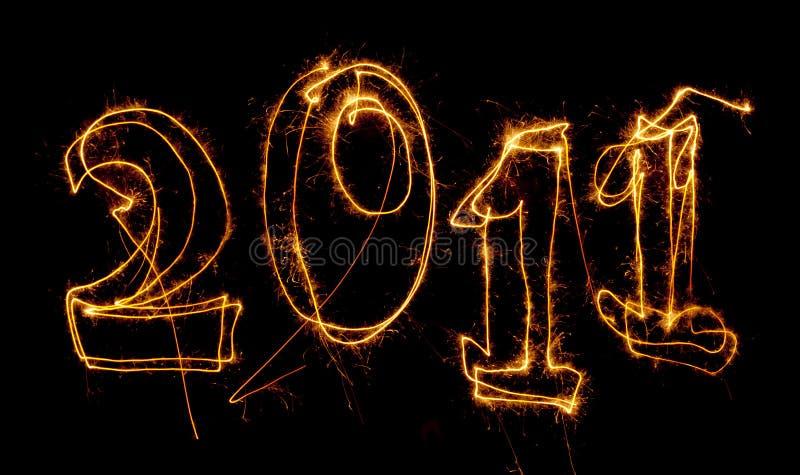 pisać rok 2011 sparklers obrazy stock
