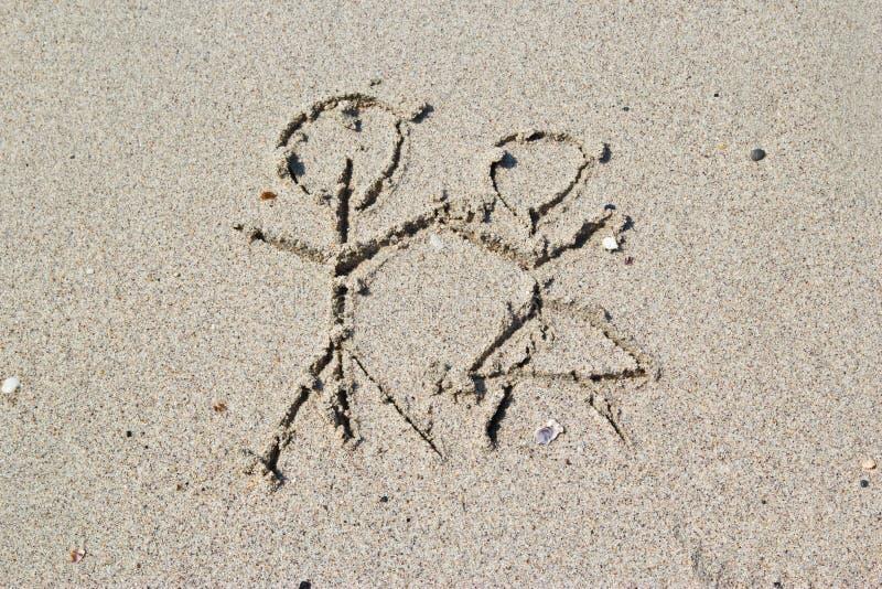 Pisać w piasku na plaży fotografia royalty free