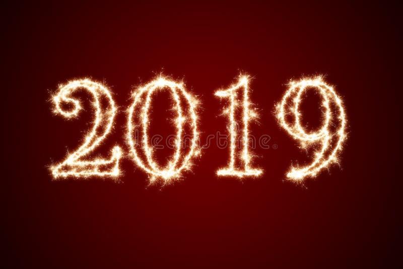 2019 pisać z błyskotanie fajerwerkiem na czarnym tle, szczęśliwy nowego roku 2019 pojęcie royalty ilustracja