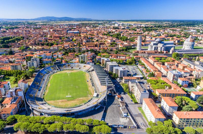 Pisa from the air. Arena Garibaldi and Square of Miracles on a b. Eautiful summer day stock images