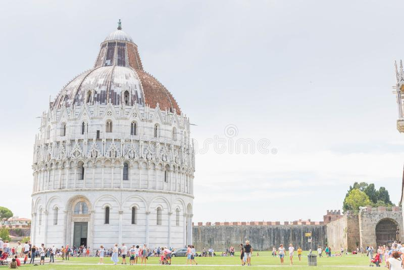 Pisa Baptistery, Italy. The Pisa Baptistery of St. John  is a Roman Catholic ecclesiastical building in Pisa, Italy. Construction started in 1152 to replace an royalty free stock image