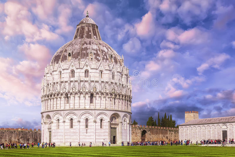 Pisa Baptistery of St. John in the Piazza dei Miracoli near the stock photos