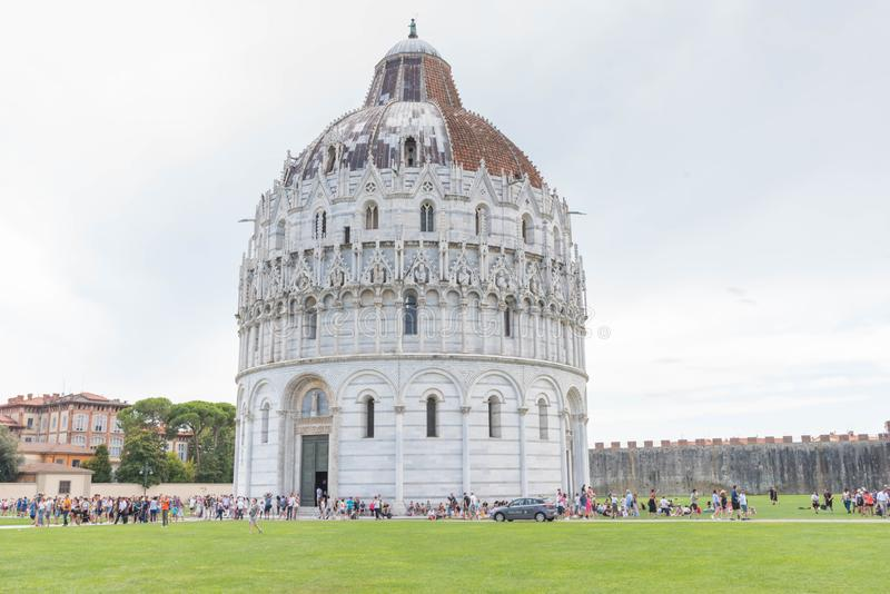 Pisa Baptistery, Italy. The Pisa Baptistery of St. John  is a Roman Catholic ecclesiastical building in Pisa, Italy. Construction started in 1152 to replace an royalty free stock photography