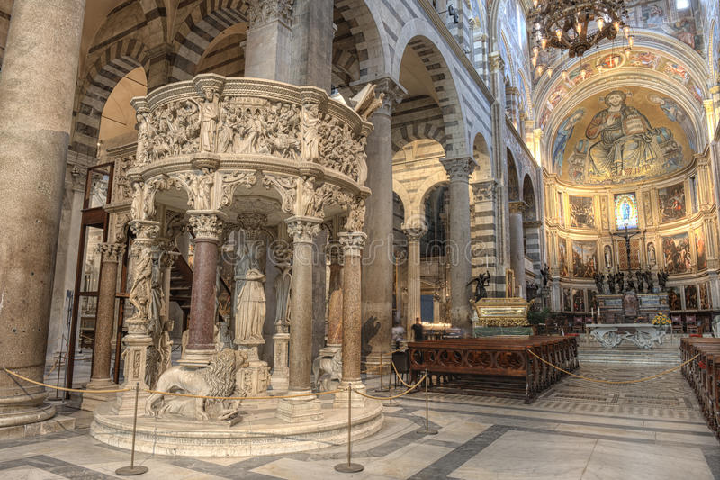 Pisa Cathedral interior, Italy. Pisa Cathedral interior, situated in the heart of the Piazza del Duomo. The medieval cathedral of the Archdiocese of Pisa is stock photography