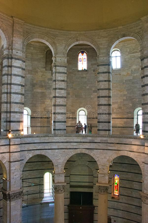 Panoramic view of interior of Pisa Baptistery of St. John Battistero di San Giovanni is a Roman Catholic ecclesiastical building. Pisa, Italy - August 19, 2016 stock photo