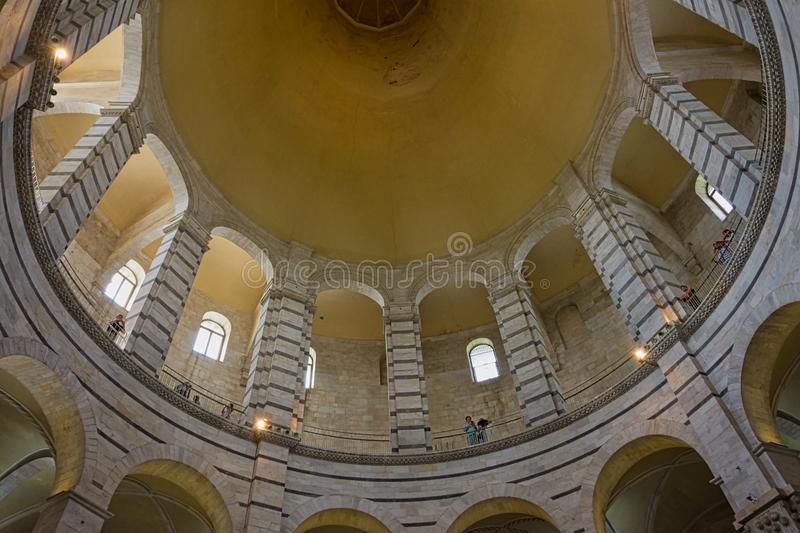 Panoramic view of interior of Pisa Baptistery of St. John Battistero di San Giovanni is a Roman Catholic ecclesiastical building. Pisa, Italy - August 19, 2016 stock photos